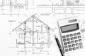 House plan blueprint architectural drawings of modern with calculator and pencil Stock Images