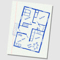 House plan doodle illustration of floor on school squared paper Stock Photography