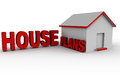 House plans words next to a home building concept of floor and architecture Stock Photography