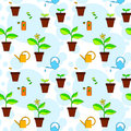 House plant growth and care advice seamless pattern vector background Stock Photography