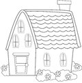 House with plants coloring page