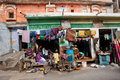 House of poor family with clothes on the ropes and household goods in famous Pink City Royalty Free Stock Photo