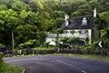 House porlock hill near road on Royalty Free Stock Photo