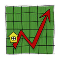 House Prices Going Up Illustrated Graph Stock Photos