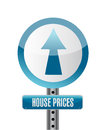 House prices road sign illustration design over white Royalty Free Stock Image