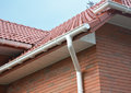 House Problem Areas for Rain Gutter Waterproofing. Guttering, Gutters, Plastic Guttering, Guttering, Drainage. Guttering Down pipe Royalty Free Stock Photo