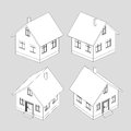 House project vector black white sketch llustration Stock Images