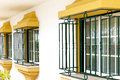 House protection with integrated safety iron bars on windows Stock Photo