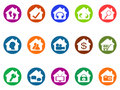 House real estate buttons icons set isolated from white background Royalty Free Stock Image