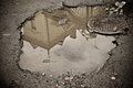House Reflection in puddle Royalty Free Stock Photo