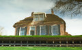 House reflection in the water giethoorn netherlands Royalty Free Stock Photography