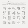 House remodel icons vector collection of repair including electric plumbing tools modern line style labels of gear and Royalty Free Stock Images