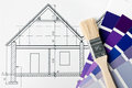House renovation brush and color Royalty Free Stock Photo