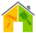 The house renovation d generated picture of a a paintbrush and a roller Stock Image