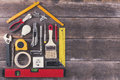 house renovation and improvement DIY tools on wooden backgro Royalty Free Stock Photo
