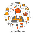 House Repair Renovation Line Art Thin Icons Set with Repairman and Tools