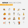House Repair Renovation Linear Thin Line Icons Set with Repairman and Tools