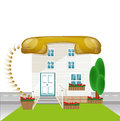 House with roof telephon connect conception connect house icon Royalty Free Stock Photos