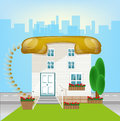 House with roof telephonin a big city connect conception icon vector illustration of real estate connection concept Royalty Free Stock Images