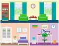 House rooms interior in flat style. Vector graphic.