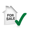 House for sale with green checkmark Stock Photos
