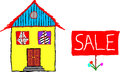 House for sale hand drawn vector of a with a sign infront of it isolated on white Stock Images