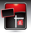 House for sale sign on red stylized template
