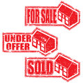 House for sale stamps sold and under offer rubber stamp vectors Royalty Free Stock Image