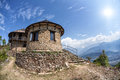 House on sarangkot hill brick with stairs at mountains background pokhara nepal Royalty Free Stock Image