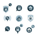 House security protection vector icons set, home, house, padlock Royalty Free Stock Photo