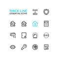 House Security - Thick Single Line Icons Set Royalty Free Stock Photo