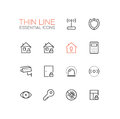 House Security - Thin Single Line Icons Set Royalty Free Stock Photo