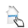 House service online with blue text Stock Photo