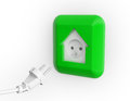 House shaped electricity socket home energy use Royalty Free Stock Photos