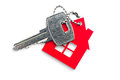 House shaped key chain isolated on white background Stock Photography