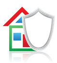 House and shield concept vector illustration on white background Stock Photos