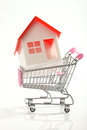 House on  shopping cart Royalty Free Stock Photography