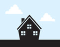 House silhouette with cut out windows Royalty Free Stock Image