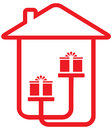 House silhouette with gifts home holiday symbol Stock Images