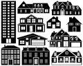 House Silhouettes Set Stock Photos