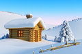 House in snow mountain Royalty Free Stock Photo
