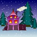 House in snowfall. Christmas greeting card background poster