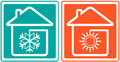 House with snowflake and sun. home conditioner sym