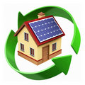 House with solar panels Royalty Free Stock Photos