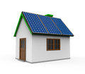 House with solar panels isolated on white background d render Royalty Free Stock Images