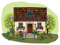House in spring cartoon hand drawing Stock Images