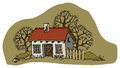 House in spring cartoon hand drawing Royalty Free Stock Images