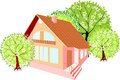 House with spring trees small Stock Images