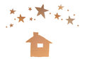 House with stars recycle paper sheet board isolated on white background Stock Images