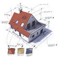 House style customized red d rendering of a with notes design and technical specifications Stock Photography